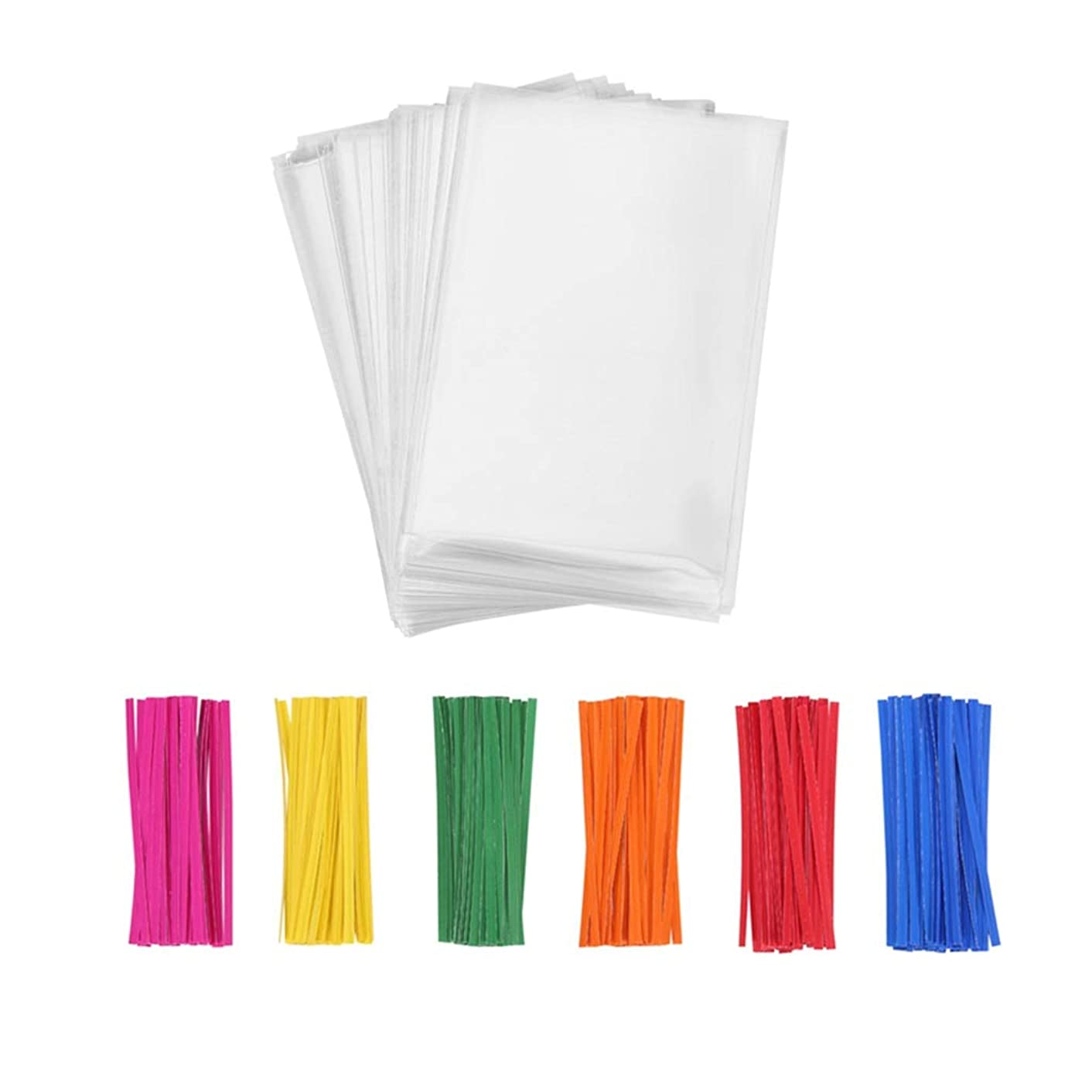 Compostable Clear Plastic Cello Bags 5x7 with Paper Twist Ties for Candy Bakery Cookies Snacks Party Gift Wrapping, Pack of 100 by Quotidian
