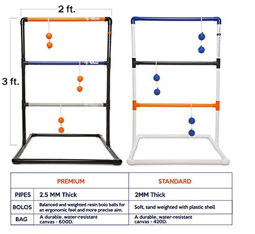 Rally and Roar Premium Ladder Ball Toss Game for Adults, Family - Outdoor Ladders Set with Canvas Bag, Resin Bolos, and Thick PVC Piping - Backyard Games, Activities