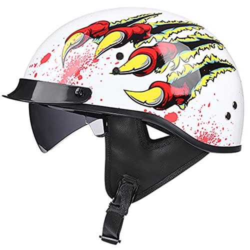 ZLYJ Casco Retro De Motocicleta Harley Half Casco De Motocicleta Brain-Cap Half Shell, Casco Jet con Visera Certificación ECE, para Casco De Ciclomotor Scooter Chopper Crucero H,XXL(63-64cm)