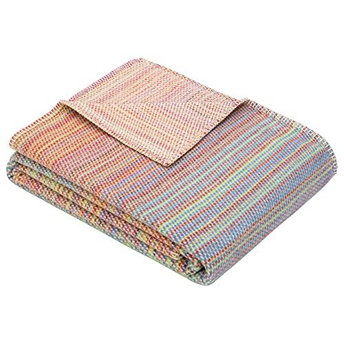 Ibena Florida Wolldecke 140x200 cm - Made in Germany Decke bunt mit feinen Streifen aus Reiner Biobaumwolle, kuschelig weich & angenehm warm