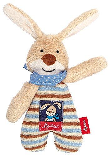 sigikid, 47891 garçon, hochet en tissu lapin, beige/bleu, 'Semmel Bunny'