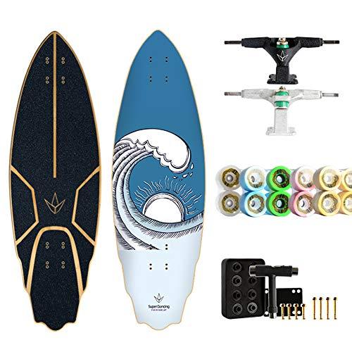 TIANDU Skateboard 32' Carver Surfboard Free, Professional Surfing Land Skateboard Longboard, City Road Land Cruiser Complete, Gift for Adults, Children, Girls, Surfing Lovers,No.3