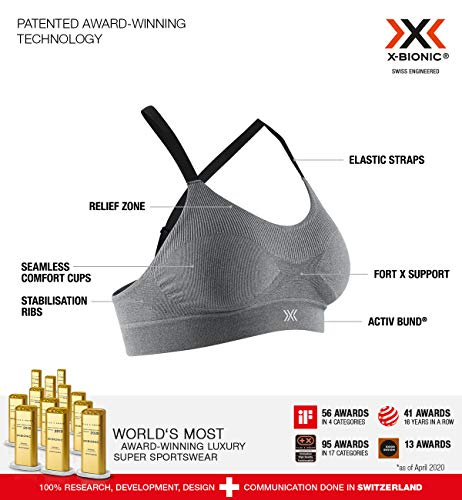 X-Bionic Damen Sport BH Bustier Bralette Ohne Bügel Fitness Training Lauf Joggen Yoga Energizer 4.0 sina Sports Bra, Pearl Grey Melange, M, NG-Y302S20W