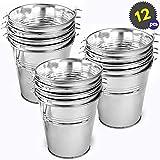 12 Cubos Pequeños de Metal Galvanizado - Decoración ideal para cubos de plata, mini cubos de servicio para botanas de fiesta, cubos de hielo, 10.5 x 10.5 x 7.5 cm por pieza.