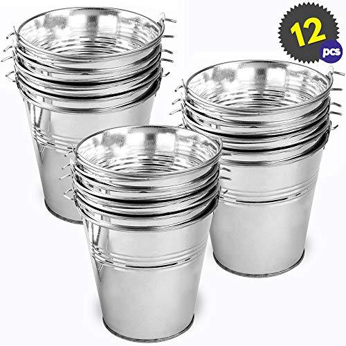 THE TWIDDLERS 12 Kleine verzinkte Metalleimer - Ideale Silberne Eimer Dekoration, Mini Servier Eimer für Party Knabbereien, Eisbehälter, - 10,5 x 10,5 x 10,5 x 7,5 cm. pro Stück
