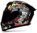 STRTG Casco Moto Integrale, Casco Moto con Visiera Parasole a Doppio Strato, Casco Moto da Corsa Integrale omologato ECE/DOT per Adulto Uomo Donna B,XL-61-62CM