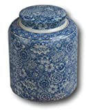 Festcool Blue and White Porcelain Floral Ceramic Tea Storage Covered Jar Container, Decorative, Asian Chinese
