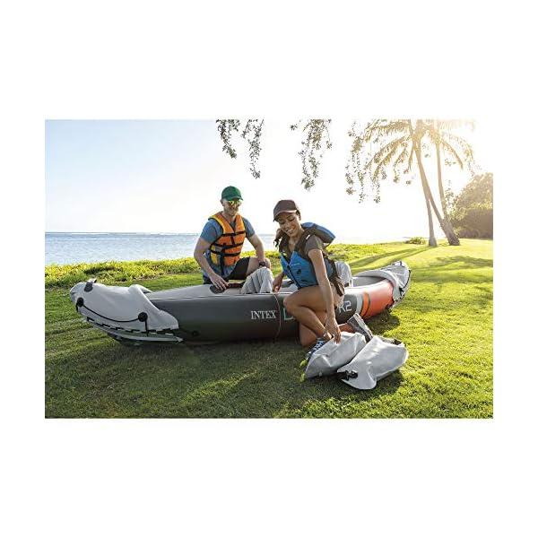 Intex 68310VM Dakota K2 - Kayak inflable de vinilo resistente para 2 personas con remos de 200 cm y bomba de aire, gris… 1