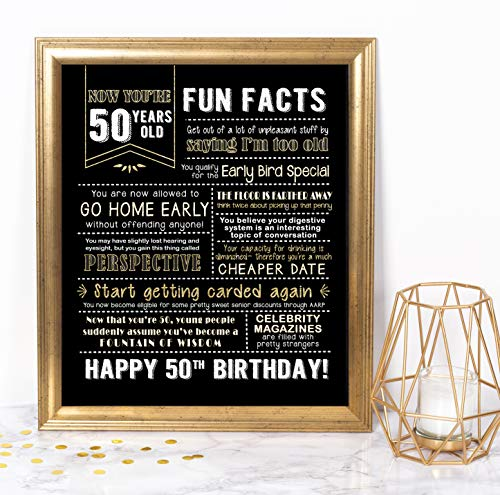 Katie Doodle 50th Birthday Decorations - Funny Centerpiece Party Sign - Great for 50th Birthday Gag Gifts or 50th Birthday Decorations for Men Women - 50 Years Print, 8x10 [Unframed] Black and Gold