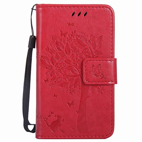 Yiizy Handyhülle für Microsoft Lumia 435 Hülle, Baum-Muster Entwurf PU Ledertasche Beutel Tasche Leder Haut Schale Skin Schutzhülle Cover Stehen Kartenhalter Stil Schutz (Rote)
