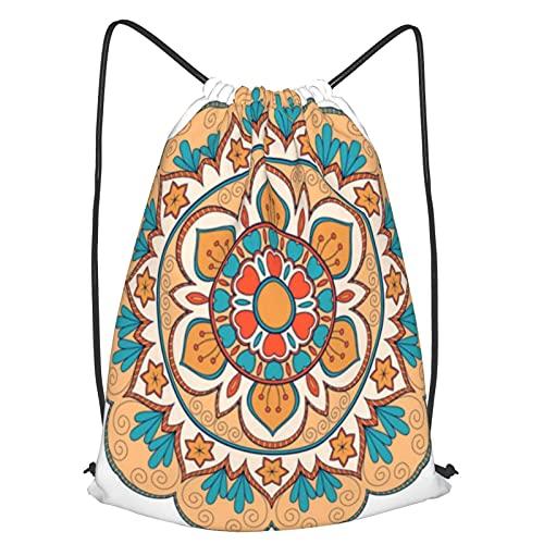 RLYIXU Mochila Con Cordones Unisex,flor redonda de color de adorno,Bolso con Cordón Impermeable para Nadar/Surfear/Viajar/Hacer Senderismo/Yoga/Deportes