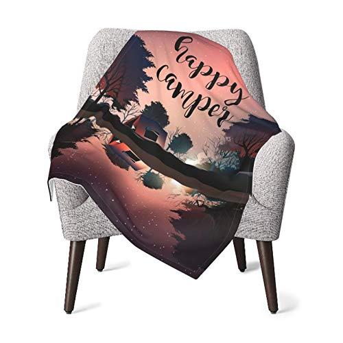 Manta de bebé para niños y niñas, felices campistas nocturnas de guardería, manta cálida para el hogar, manta de felpa unisex de 76 x 106 cm