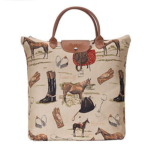 Signare Tapestry arazzo Borsa Riutilizzabile Shopper Donna, Shopping Pieghevole Borsa, olding Shopping Bag Donna (Cavalla)