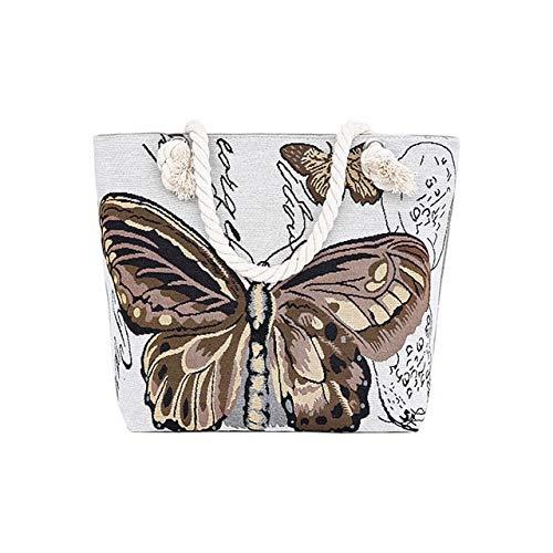 JIEIIFAFH Hohe Qualität Neue Schmetterlings-Frauen-Beutel-beiläufige Handtasche Bolsa Druck Crossbody Beutel Female Canvas Strandtaschen Damen große Kapazitäts-Umhängetasche