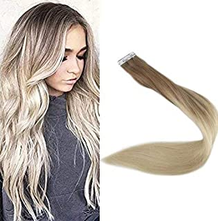 "Full Shine 18"" Tape in Remy Hair Extentions Real Hair Extensions Ombre Hair Extensions Color #8 Fading to #60 Plautinum Blonde Balayge Human Hair 100g 40 Pcs Per Package"