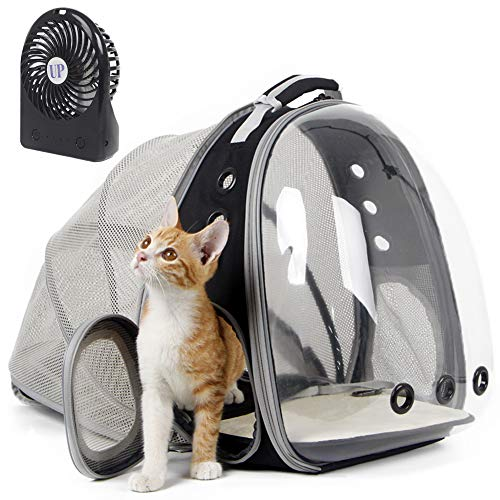 halinfer Expandable Cat Backpack, Space Capsule Bubble Transparent Clear Pet Carrier for Small Dog, Pet Carrying Hiking Traveling Backpack (Black + Fan)