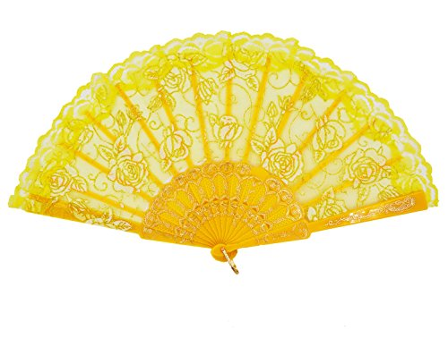 Amajiji Folding Hand Fans,Fashion Elegant Flower Rose Lace Chinese/Japanese Folding Fan (Yellow)