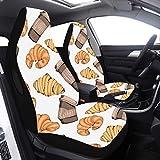 Juego de 2 piezas Fundas de asiento para hombres Croissants Fundas de asiento de pan delicioso para mujeres Compatible con bolsas de aire Ajuste universal para automóviles Camiones y SUV Xl Cubierta