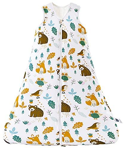 Chilsuessy Schlafsack Baby 2.5 Tog Winterschlafsack Babyschlafsack aus reine Baumwolle Winter Schlafanzug ohne Ärmel 70-130cm für Neugeborene und Kinder, Waldbär, 130cm/Baby Höhe 120-140cm
