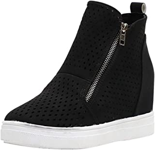 Aniywn Womens Hidden Wedge Platform High Top Sneakers Ankle Booties Zipper Faux Leather Comfort Casual Shoes