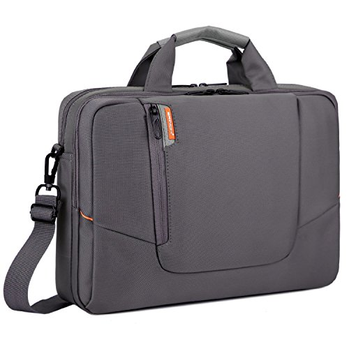 BRINCH 15.6 Inch New Soft Nylon Shockproof Laptop Computer Case Sleeve Shoulder Messenger Bag Briefcase with Pockets Handles and Detachable Shoulder Strap for 15 - 15.6 Inch Laptop / MacBook / Notebook / NetBook / Chromebook / Tablet Computers,Colour Grey