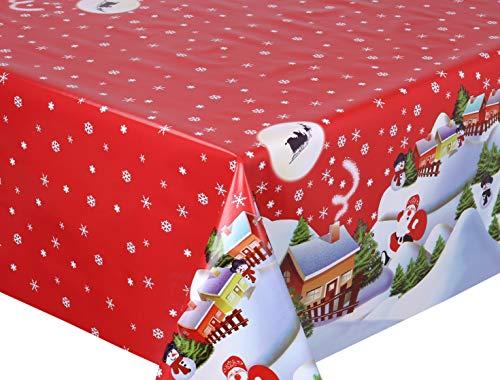 BEAUTEX Mantel de Hule Lavable, Redondo, Cuadrado, diseño de Navidad y tamaño a Elegir, PVC, Bescherung Rot, Rund...