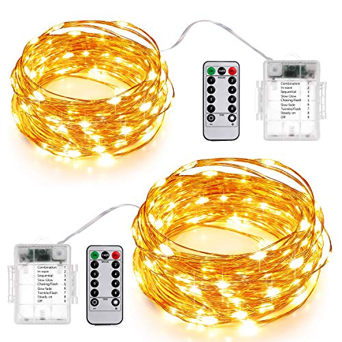 SUNNEST Starry String Light Battery Operated, 2Pack 50 LED 16.4ft/5m Waterproof Twinkle Fairy Lights, 8 Modes Remote Control Timer for Wedding Bedroom Garden Party Indoor Patio