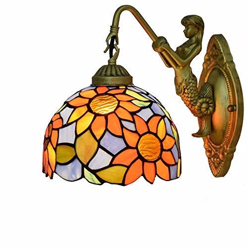 PEJGD Lampada da parete sole fiore Pastorale americana creativa Tiffany vetrate soggiorno sala da pranzo corridoio corridoio balcone posto Posto da usare
