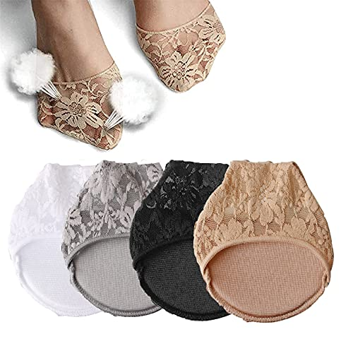 4/8 pares de almohadillas para calcetines de encaje de seda helada, calcetines invisibles de entrenamiento para mujer, calcetines para la punta del dedo del pie para mujeres (4Pairs)