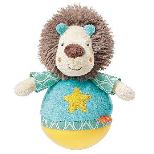 Fehn 066289 Stehauf-Löwe – Lustiges Spielzeug zum Greifen, Fühlen und Stupsen – Für Babys und Kleinkinder ab 0+ Monaten – Größe: 18 cm
