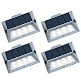 Roopure【Newest Version White 8 LED】Solar Deck Step Lights Outdoor Decorative Solar Stair Lights Wireless Waterproof Lighting for Garden Wall Paths Patio Decks Auto On/Off 4 Pack
