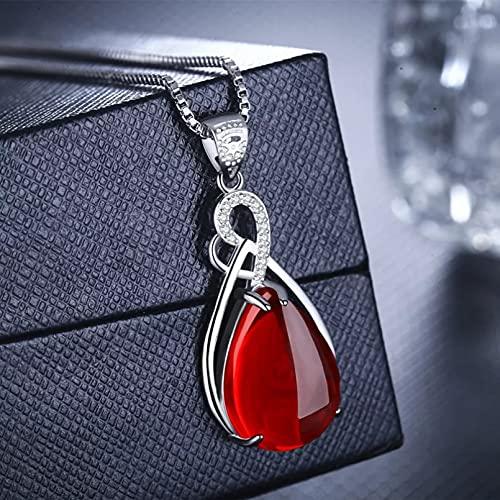 Chenfeng Collar de Mujer Collar de joyería de rubí con Collares Pendientes para Mujer Collar de joyería Fina Regalos para Esposa, Madre y Novia Regalo de cumpleaños