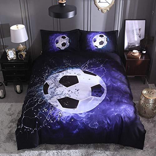 HGFHGD Blaues Wasserzeichen 3D-Druck Fußball Sport Bettbezug Bettbezug Kissenbezug Heimtextilien 3-teiliges Set
