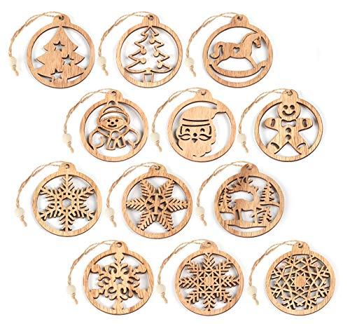Decorazioni Natalizie in Legno Retro Albero di Natale Appeso Ornamento Legno Tondo Artigianale Decorazione Appesa Addobbi, 12 Pezzi