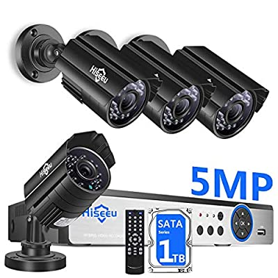 ?5MP 8Channel?Hiseeu Security Camera System,H.265+ 8CH DVR + 4Pcs AHD Cameras,Global Phone&PC Remote,Human Detect Alarm,98Ft Night Vision,IP66 Waterproof,24/7 Recording,Easy Setup,Plug & Play,1TB HDD
