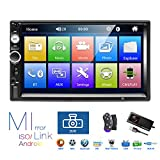 Autoradio 2 Din, Lecteur MP5 à écran Tactile HD 7 '' avec Lien Miroir Bluetooth, Prise en Charge DVR/USB/Carte Radio FM/TF/Commande au Volant/entrée de caméra de recul/télécommande