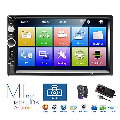 Podofo Car Radio 2 DIN Autoradio Car Stereo 7 pollici HD Touch Screen MP5 Player con supporto Bluetooth/DVR/USB/FM/TF card/Controllo del volante/Rear View Fotocamera/Telecomando