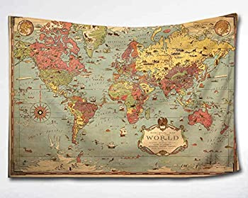 HMWR World Map Tapestry Wall Hanging Vintage Ancient Shabby Chic World Map Compass Wall Fabric Tapestry Throw Artwork Home Decoration for Living Room Bedroom Dorm  60x90 Inch