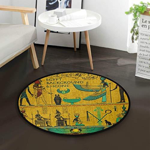 Tapijt, rond, vintage-stijl, Egyptische tafel, voor woonkamer, slaapkamer, diameter: 92 cm