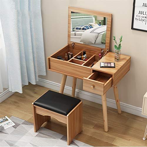 PNYGJDSZT Mueble de tocador de Madera Maciza nórdica con Espejo y Taburete Acolchado (Color : Pear Wood, Size : Single drawer-60cm)