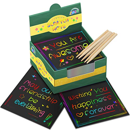 ZMLM Rainbow Scratch Mini Art Notes - 125 Magic Scratch Note Off Paper Pads Cards Sheets for Kids...