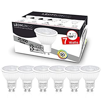 GU10 LED Bulbs - 7W - 90+CRI - Dimmable - Flicker Free - 75W Halogen Equivalent - Daylight 5000K - 600LM - GU10 Recessed Lighting Bulb - Track Lighting Bulb - Spotlight Bulb - UL Listed - Pack of 6