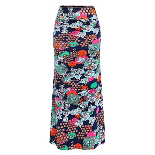 minjiSF Faldas maxi para mujer, verano, informal, con estampado de flores, cintura alta, elegante, boho, largas, suaves, elsticas, maxi marine L