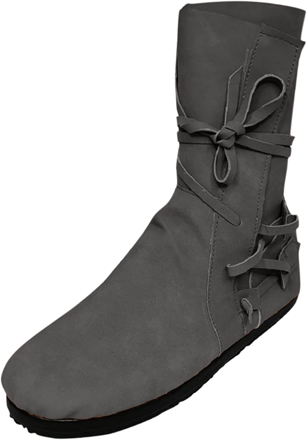Womens Ankle Boots Fashion Solid Color Strap Flat-Heel Round Toe Casual Short Boots