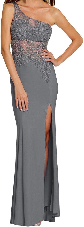JudyBridal Women OneShoulder See Through Crystals Side Slit Prom Dress