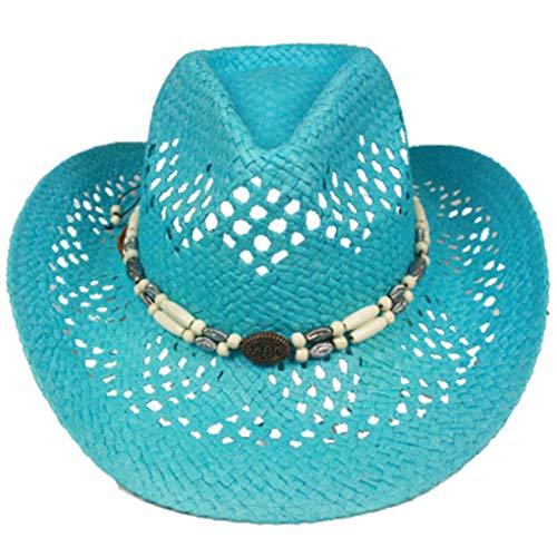 Silver Fever - Cappello da cowboy con scollo e perle, stile ombre, in paglia Turchese, Beaded. Taglia unica