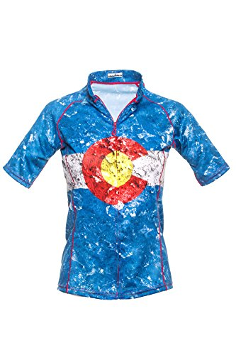 Bold Babe Women's Sun Protective Short Sleeve Cycling Jersey - SPF Clothing Perfect for Enjoying The Outdoors - Colorado Flag (X-Large) Blue