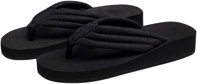 HUYP Black Female Summer Non-Slip Flip Flops Wild Wear Sandals Fashion Flat Slippers (Size   7 US)