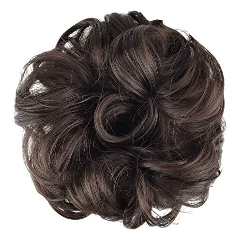 BARSDAR Messy Hair Bun Extensions Hairpiece for Women Updo Scrunchie Hair Piece (6# Medium Brown)
