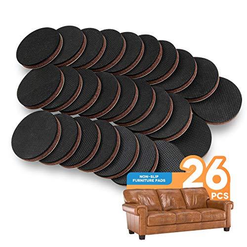 Non Slip Furniture Pads 26Pcs 2' Furniture Grippers Self Adhesive Non Skid Furniture Pads, Anti Slip Rubber Pads for Furniture Legs, Furniture Stopper Floor Protector for Hardwood Floor
